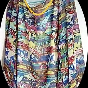Sioni Women's Top Sz XL Abstract Floral Lined